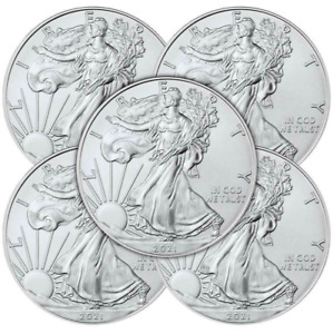Lot of 5 - 2021 $1 Type 1 American Silver Eagle 1 oz Brilliant Uncirculated