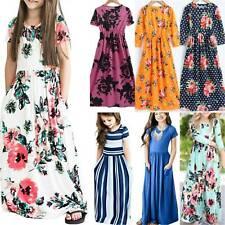 Kids Girls Boho Floral Striped Swing Maxi Dress Summer Casual Pockets Sundress