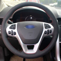 Black Leather DIY Car Steering Wheel Cover for Ford Explorer Taurus Edge