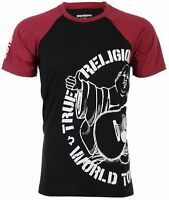 TRUE RELIGION Mens T-Shirt PART BUDDHA RAGLAN Black Red Sleeves $79 Jeans NWT
