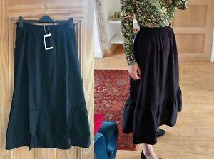 WAREHOUSE BRAND NEW Black Panelled Elasticated Midi Cotton Skirt Size 6 - 14