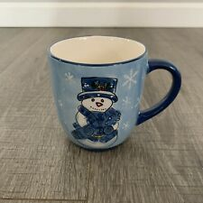 Libbey Christmas Coffee Mug Blue Snowman Winter Snowflakes
