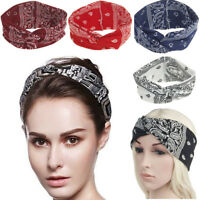 Women Yoga Sport Elastic Floral Hair Band Headband Turban Twist Knot Head Wrap