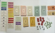 Vintage 30s/40s Monopoly Game Pieces - Wood Houses, Hotels, Money, Dice, Cards +
