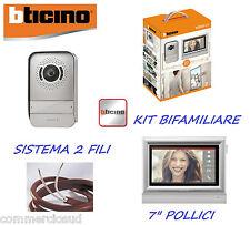 """VIDEOCITOFONO BTICINO 2 FILI BIFAMILIARE 317113 KIT VIDEO CITOFONO COLORI 7"""""""