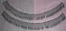 "Antique Victorian Cut Steel Beads Fringe Trim Two Pieces 34"" And 35"""