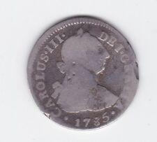 1785 Silver Spanish Hispan Carolus Charles 111 2 Reales Coin Z-500