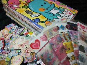 80pc Kawaii grab bag - Mixed Memo Sheets, sticker flakes, washi - stationery lot
