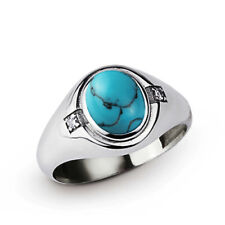 Mens Ring in SOLID 925 SILVER with Blue Turquoise and 2 Extra DIAMONDS All Sz