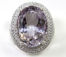 Huge Oval Cut Amethyst & Diamond Halo Cocktail Ring 14k White Gold 20.14Ct