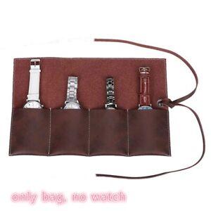 Genuine Leather Watch Travel Storage Case Organizer Watch Pouch Wactch Roll Bag