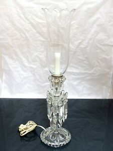 """BACCARAT Rare French Crystal Lamp 22"""" Candle Holder Candlestick MINT condition"""