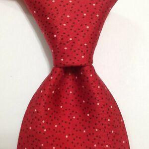 HERMES 7902 MA Men's 100% Silk Necktie FRANCE Luxury POLKA DOT Red/Brown EUC