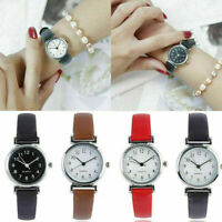Women Leather Strap Watches Casual Solid Quartz Analog Round Dial Wrist Watch