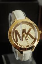 Michael Kors Womens Slim Runway White Saffiano Leather Strap Watch Glitz MK2389