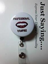 PHLEBOTOMY TECHNICIAN (professional vampire) ~ Retractable Reel ID Badge Holder