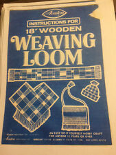 Instruction booklet copy for Vintage Avalon 18� wooden Weaving loom #8180 & 8181