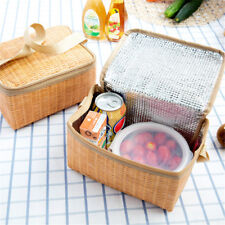 Portable Rattan Lunch Bag Waterproof Thermal Food Storage Box Tote Lunch Bfw