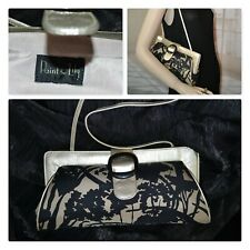"""PAINT THE LILY bag purse strap or clutch BLACK GOLD 12"""" x 6"""" LEATHER AND SILK"""