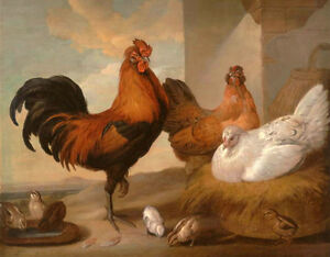 Art oil painting happy family - Cock with hens chicks in landscape Hand painted