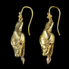 ANTIQUE VICTORIAN RUBY SNAKE DROP EARRINGS 9CT GOLD CIRCA 1880