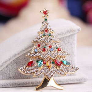 New Fashion Christmas Tree Crystal Star Brooch Pin Costume Women Jewelry Gifts