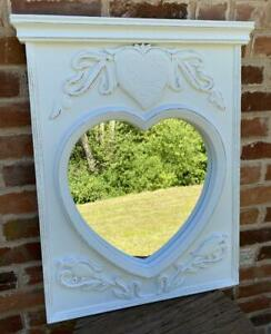 Wood Wall Hanging Mirror Heart & Birds White Shabby Chic Painted - 79cm x 64cm