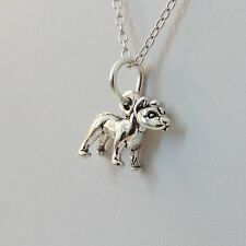 Tiny Pit Bull Necklace - 925 Sterling Silver - Pitbull Dog Charm Puppy *NEW* Pet
