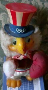 PELUCHE BIRD MASCOTTE VINTAGE OLYMPICS LOS ANGELES 1984 EAGLE UNCLE SAM BOXE USA