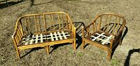 Beautiful Vintage Authentic McGuire Furniture Set Sofa Couch Chair Bamboo Rattan