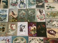 Nice ~Lot of 25 Antique Greetings Postcards with *BIRDS~Bird-in sleeves-a575