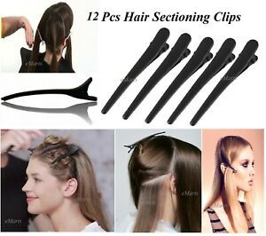 12 PCS BLACK METAL HAIRDRESSER HAIRDRESSING SECTIONING HAIR CLIP SALON CLAMP