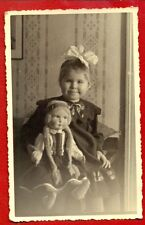 LATVIA LETTLAND GIRL AND DOLL VINTAGE PHOTO POSTCARD 30