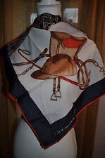 30X31 EQUESTRIAN LEONARDI ITALY  SCARF HORSE SHOES SADDLE HAT BRIDLE NAVY RED