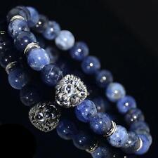 Men Natural Blue Sodalite Bead 8mm Silver Lion Head Charm Yogo Stretch Bracelet