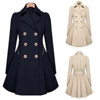 Women Slim Winter Warm Long Coat Double Breasted Trench Parka Jacket Overcoat