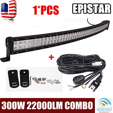 52 INCH 300W LED CURVED WORK LIGHT BAR FLOOD SPOT COMBO OFFROAD 4X4+Wiring Kit