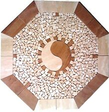 Floor Marble Medallion Ying Yang Travertine Tile Mosaic 28 inches Medallion