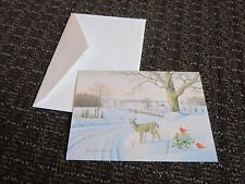 Ken Bucklew Christmas Card Holiday Winter Scene Deer Cardinals Unused FREE SHIP