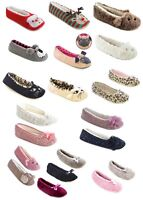 LADIES WOMENS GIRL NOVELTY BALLET PUMP SLIPPERS COZY SOFT WARM FEET SLIP ON GIFT