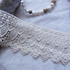 1 yard Embroidery Double Edged  Cotton Crochet Lace Trim 10cm Wide lovely Flower