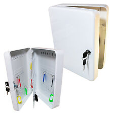 Metal Key Cabinet Holder: White / 93 Capacity (Wall Storage Safe Box Staff Lock)