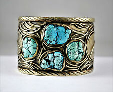 #7631- Gorgeous - Navajo - Turquoise & Sterling Silver - Wide Cuff Bracelet