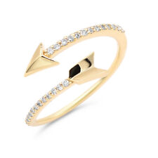 Wrap Bypass Cocktail Right Hand Ring 14K Yellow Gold Pave Diamond Arrow