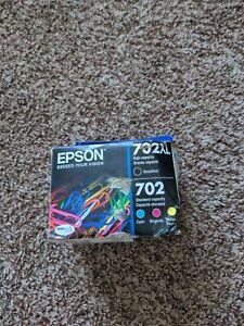 Epson GENUINE 702XL Black & 702 Color Ink WORKFORCE WF-3730 4-PACK