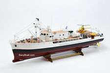 "RV Calypso Research Vessel Handmade Wooden Ship Model 48"" RC Ready"