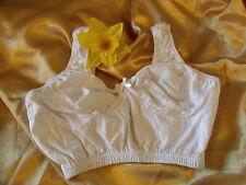 Gemm CB200 White Non-Wired Unpadded Cotton-Rich Stretch Comfort Bra 34C