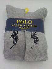 POLO Ralph Lauren Men GRAY 6-12 1/2 BIG PONY Classic Sport Crew Socks 6 Pack