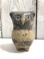 AMADO GALVAN, Signed Owl Figurine Vtg Tonala Burnished Pottery Mexican Folk Art