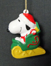 Peanuts Snoppy Woodstaock Sleigh Christmas Holiday Ornament Resin
